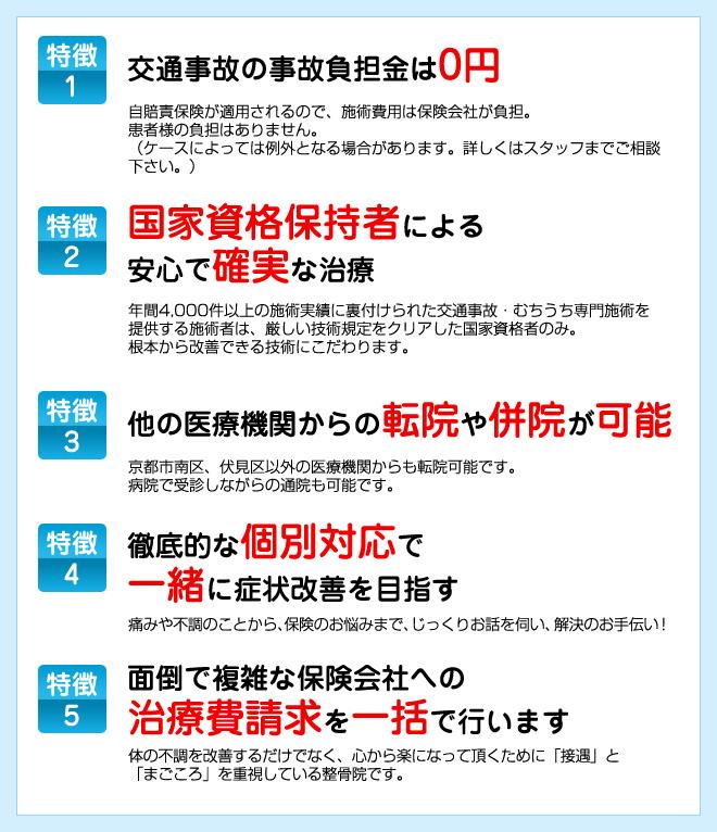 交通事故治療の5つの特徴